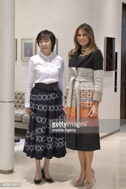 First Lady of the United States Melania Trump and Japanese Prime Minister Shinzo Abe's wife Mrs Akie Abe pose for a photo at Mikimoto Ginza Main...