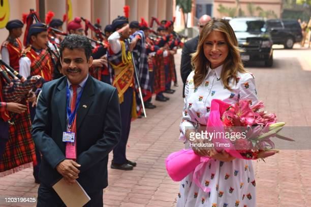 First Lady of the United States Melania Trump during an interaction with students of Sarvodaya CoEducational Senior Secondary School during a visit...