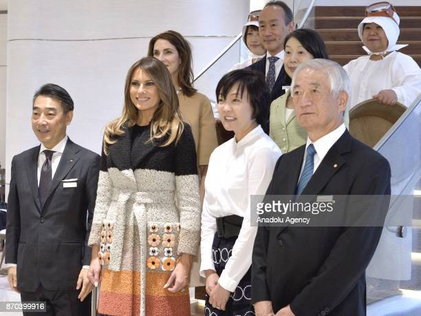 First Lady of the United States Melania Trump Japanese Prime Minister Shinzo Abe's wife Mrs Akie Abe President of Mikimoto Jewelry Store Hitoshi...