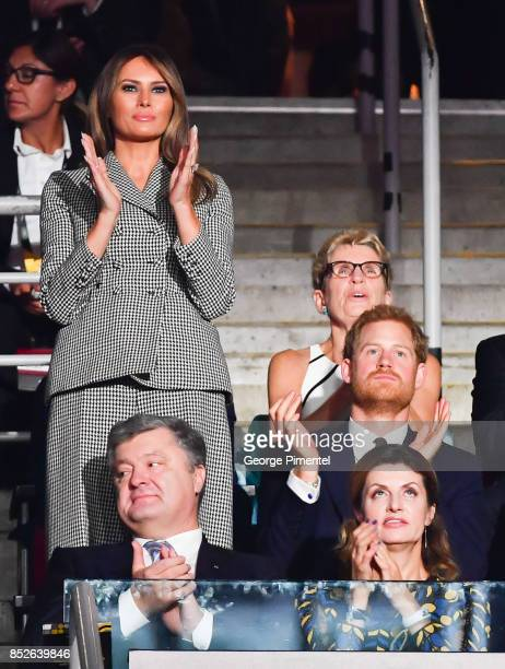 First Lady of the United States Melania Trump Prince Harry Ukrainian President Petro Poroshenko and Maryna Poroshenko attend the opening ceremony of...