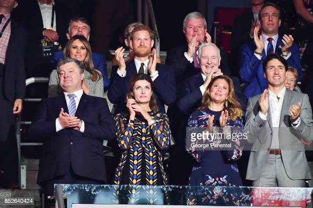 First Lady of the United States Melania Trump Prince Harry Ukrainian President Petro Poroshenko Maryna Poroshenko Sophie Gregoire Trudeau and...