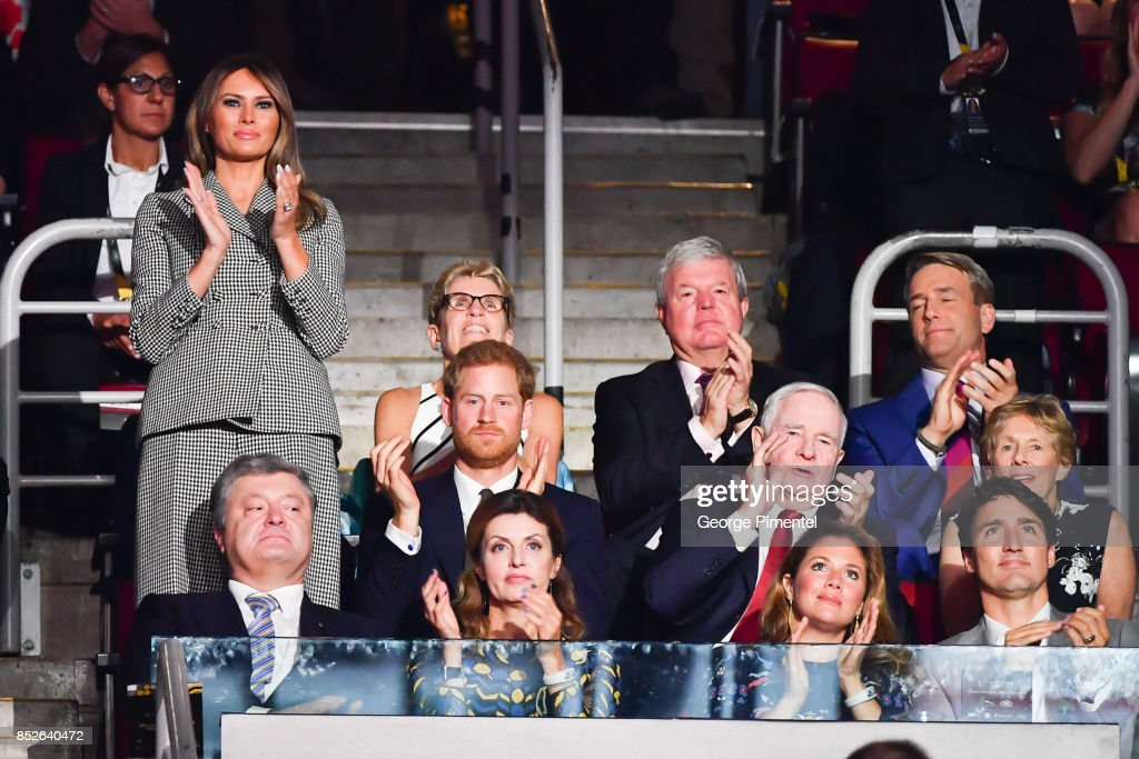 First Lady of the United States Melania Trump, Prince Harry, (front row) Ukrainian President Petro Poroshenko, Maryna Poroshenko, Sophie Gregoire Trudeau and Canadian Prime Minister Justin Trudeau attend the opening ceremony of the 2017 Invictus Games at Air Canada Centre on September 23, 2017 in Toronto, Canada. The Invictus Games is the only international sporting event for wounded, injured and sick servicemen and Women (WIS). This year's games will bring together 550 competitors from 17 nations.