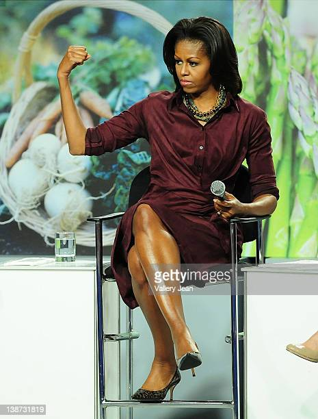 First lady of the United States Michelle Obama attends WebMD town hall discussion at YMCA on February 10 2012 in Homestead Florida