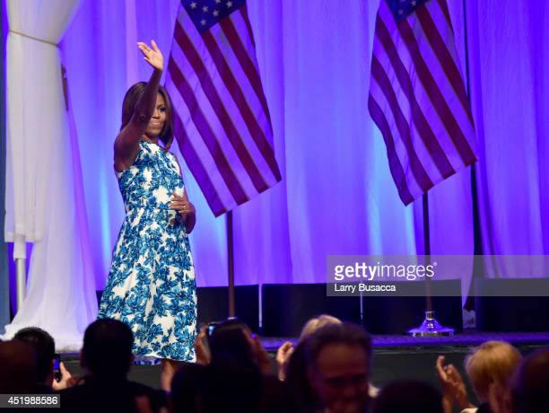 First Lady of the United States Michelle Obama onstage at the LULAC/NUVOtv Unity Luncheon With Jennifer Lopez at New York Hilton Midtown on July 10,...