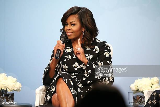 First Lady of the United States Michelle Obama speaks during a panel discussion at Glamour Hosts 'A Brighter Future A Global Conversation on Girls'...