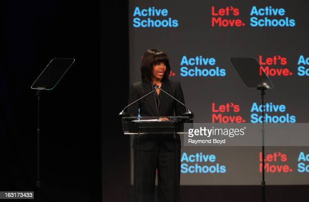 First Lady of the United States Michelle Obama, speaks during opening ceremonies for the Third Anniversary Of Let's Move! With First Lady Michelle...