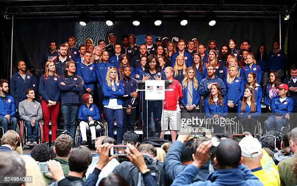 First lady of the United States Michelle Obama speaks during Team USA's Road to Rio Tour presented by Liberty Mutual on April 27 2016 in New York...