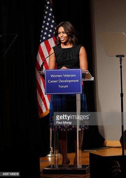 First Lady of the United States Michelle Obama speaks on stage at the Women Veterans Career Development Forum at Women in Military Service for...