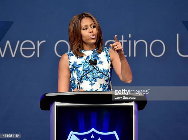 First Lady of the United States Michelle Obama speaks onstage at the LULAC/NUVOtv Unity Luncheon With Jennifer Lopez at New York Hilton Midtown on...