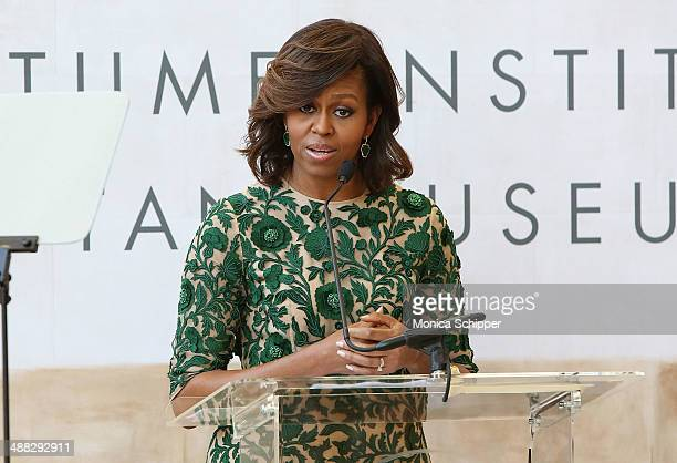 First Lady of the United States Michelle Obama speaks onstage at the Anna Wintour Costume Center Grand Opening at Metropolitan Museum of Art on May 5...