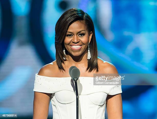 First Lady of the United States Michelle Obama speaks onstage during the 'Black Girls Rock' BET Special at NJ Performing Arts Center on March 28 2015...