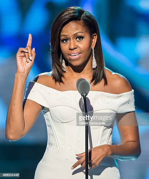 First Lady of the United States Michelle Obama speaks onstage during 2015 'Black Girls Rock' BET Special at NJ Performing Arts Center on March 28...