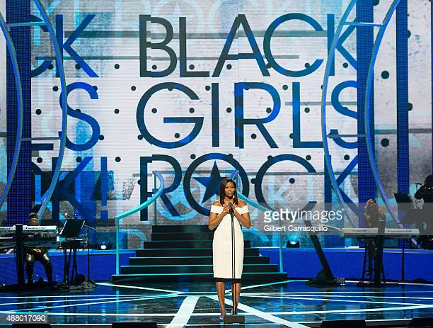First Lady of the United States Michelle Obama speaks onstage during 2015 'Black Girls Rock!' BET Special at NJ Performing Arts Center on March 28,...