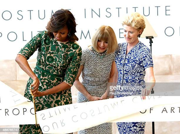 First Lady of the United States Michelle Obama Vogue Editor in Chief Anna Wintour and Metropolitan Museum of Art President Emily K Rafferty attend...