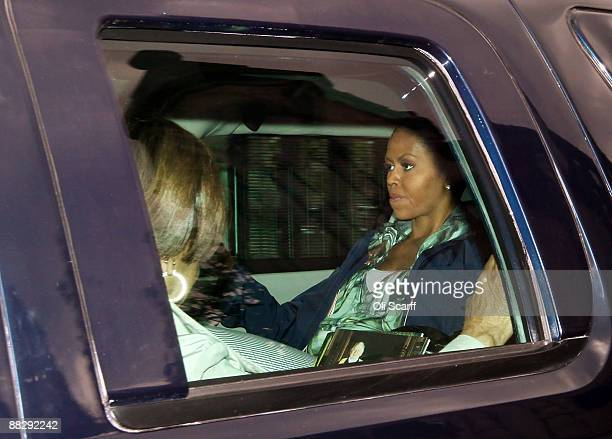 First Lady of the United States of America Michelle Obama leaves the House of Commons in a motorcade during an unofficial visit on June 8 2009 in...