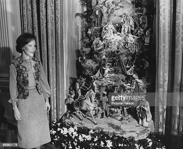 First Lady of the United States Rosalynn Carter with a nativity scene at the White House Washington DC 12th December 1978