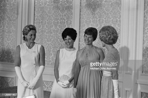 First Lady Pat Nixon and President Richard Nixon host a dinner at the Century Plaza Hotel in Los Angeles for the Apollo 11 astronauts after their...