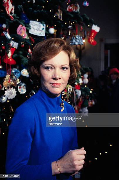 First Lady Rosalynn Carter poses near Christmas Tree in the Blue Room of the White House
