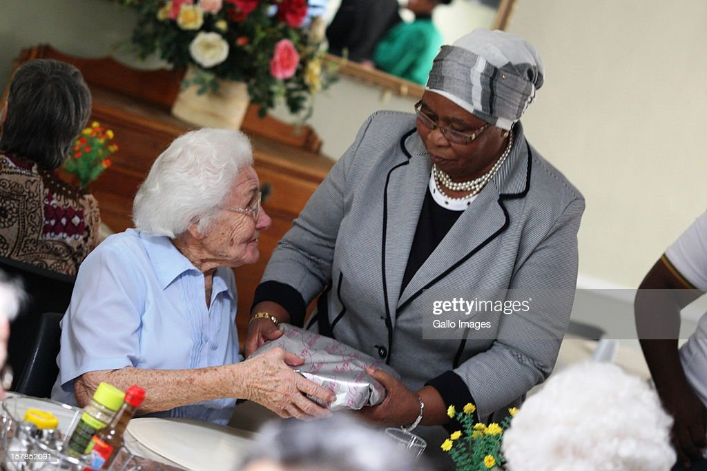 First Lady, Sizakele Zuma, visits an old age home before the Jacob Zuma Centennial lecture on December 6, 2012 in Potchefstroom, South Africa. The lecture is part of the ANC's centenary celebrations honouring the party's presidents, and is the last before their elective conference in Mangaung.