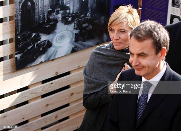 First Lady Sonsoles Espinosa and Spanish President Jose Luis Rodriguez Zapatero attend the Spanish Art Treasures press conference at El Prado Museum...