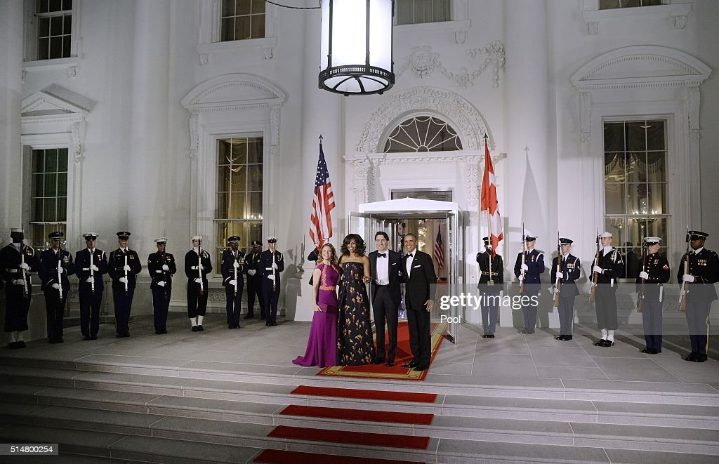 First Lady Sophie Trudeau of Canada, First Lady Michelle Obama, Prime Minister Justin Trudeau of Canada and President Barack Obama pose at the North Portico of the White House on March 10, 2016 in Washington, D.C. Prime Minister Trudeau is on an official visit to Washington.