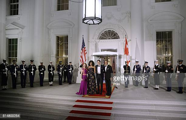 First Lady Sophie Trudeau of Canada First Lady Michelle Obama Prime Minister Justin Trudeau of Canada and President Barack Obama pose at the North...