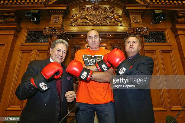 First leader Winston Peters and Labour MP Shane Jones take Russian heavyweight boxer Alexander Ustinov on a tour of the New Zealand Parliament on...