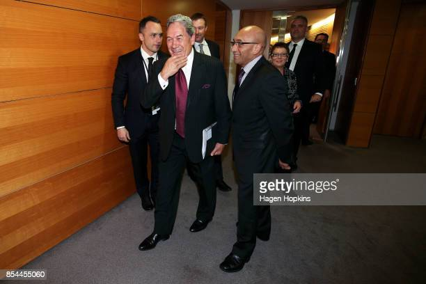 First leader Winston Peters and MP Ron Mark leave after a press conference at the Beehive Theatrette on September 27, 2017 in Wellington, New...