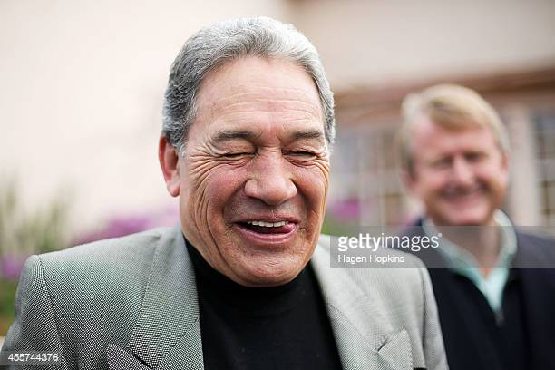 First leader Winston Peters enjoys a laugh while speaking to media after casting his vote at St Mary's College on September 20 2014 in Auckland New...
