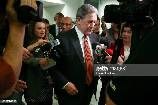 First leader Winston Peters is approached by media after a meeting with the National Party at Parliament on October 8 2017 in Wellington New Zealand...
