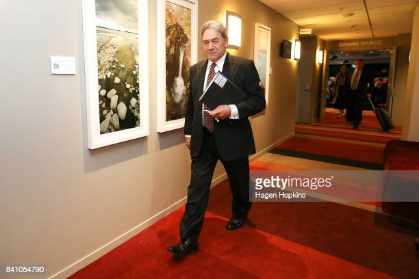 First leader Winston Peters makes an exit after speaking during the Economic Development Agencies of New Zealand Conference at Rydges Hotel on August...