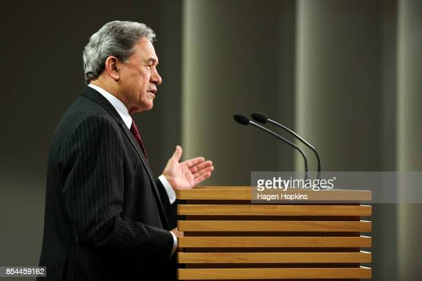 First leader Winston Peters speaks during a press conference at the Beehive Theatrette on September 27, 2017 in Wellington, New Zealand. With results...