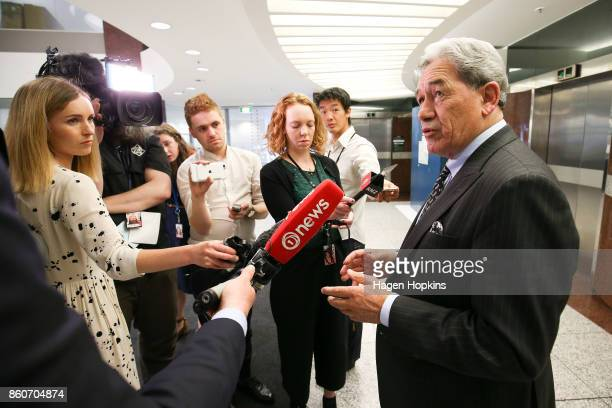 First leader Winston Peters speaks to media as coalition decision meetings continue at Parliament on October 13 2017 in Wellington New Zealand...