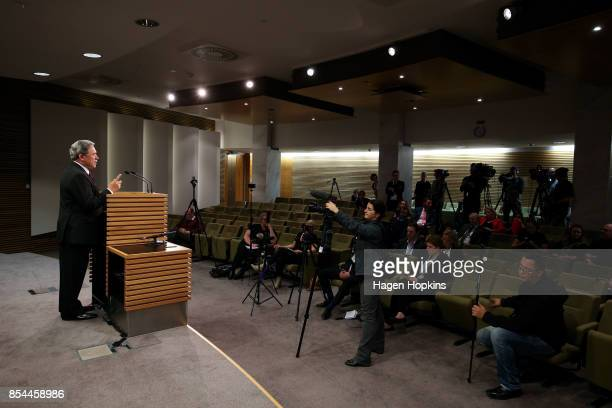 First leader Winston Peters speaks to media during a press conference at the Beehive Theatrette on September 27, 2017 in Wellington, New Zealand....