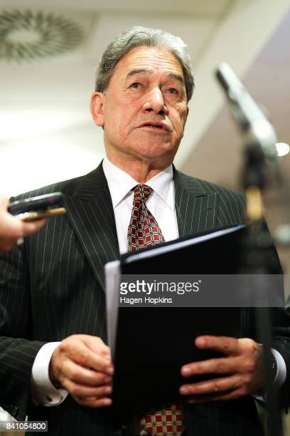 First leader Winston Peters speaks to media following the Economic Development Agencies of New Zealand Conference at Rydges Hotel on August 31 2017...