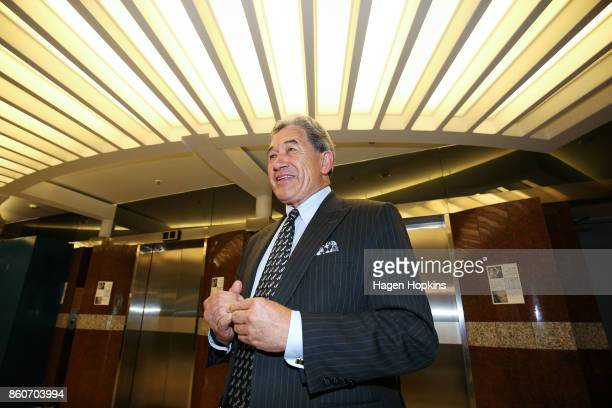 First leader Winston Peters waits to speak with media as coalition decision meetings continue at Parliament on October 13 2017 in Wellington New...