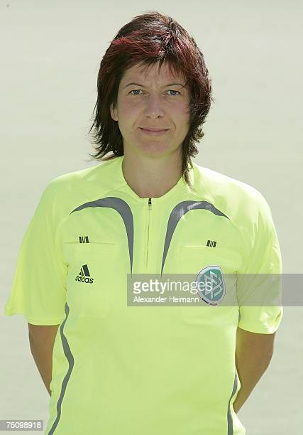 First league womens referee Daniel Schneider poses during the womens referee seminar at the sportsground of the Mainzer Turnverein on July 6 2007 in...