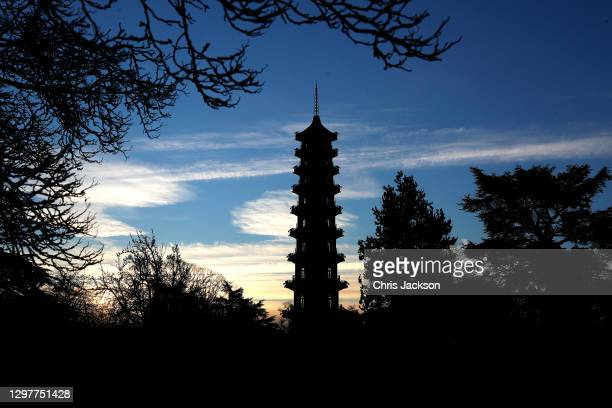 First light falls on The Royal Botanic Garden's Kew's Great Pagoda on January 22, 2021 in London, England. The Great Pagoda was completed in 1762 as...