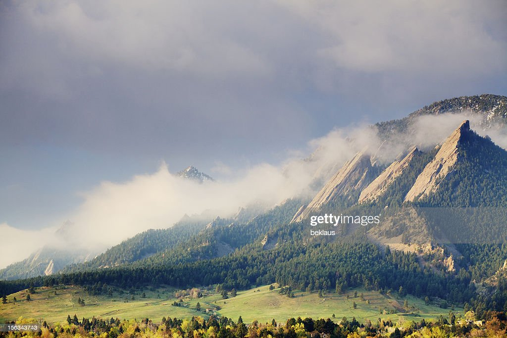 First Light on the Boulder Colorado Flatirons : Stock Photo