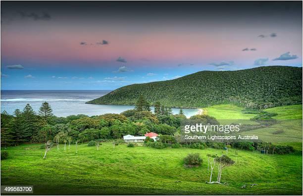 First light over settlement beach area, Lord Howe Island