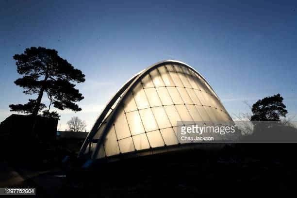 First light shines through the alpine house at The Royal Botanic Garden's Kew on January 22, 2021 in London, England. Visitors are still allowed to...