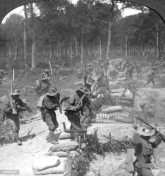 First line Gurkhas storming and capturing a German trench World War I 19141918 Stereoscopic card Detail