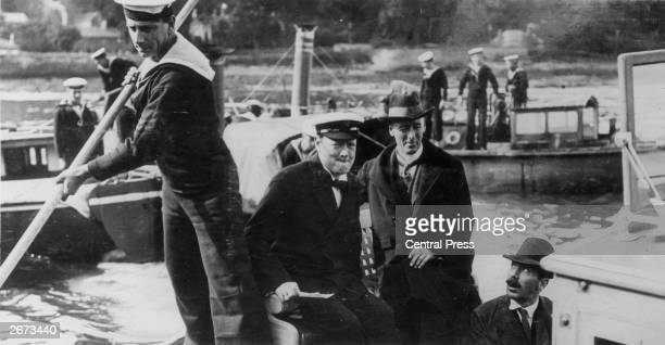 First Lord of the Admirality and Irish Home Rule supporter Winston Leonard Spencer Churchill relaxing with Secretary of State for War Col Seeley