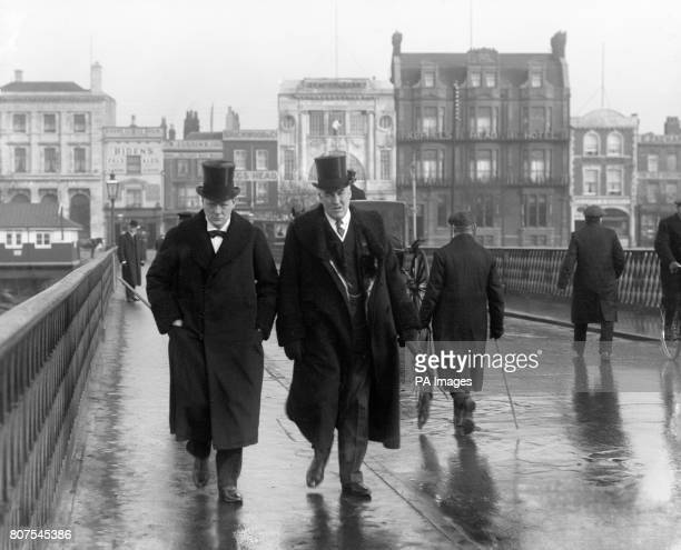 First Lord of the Admiralty Winston Churchill and his private secretary Rear Admiral Sir Ernest Charles Thomas Troubridge