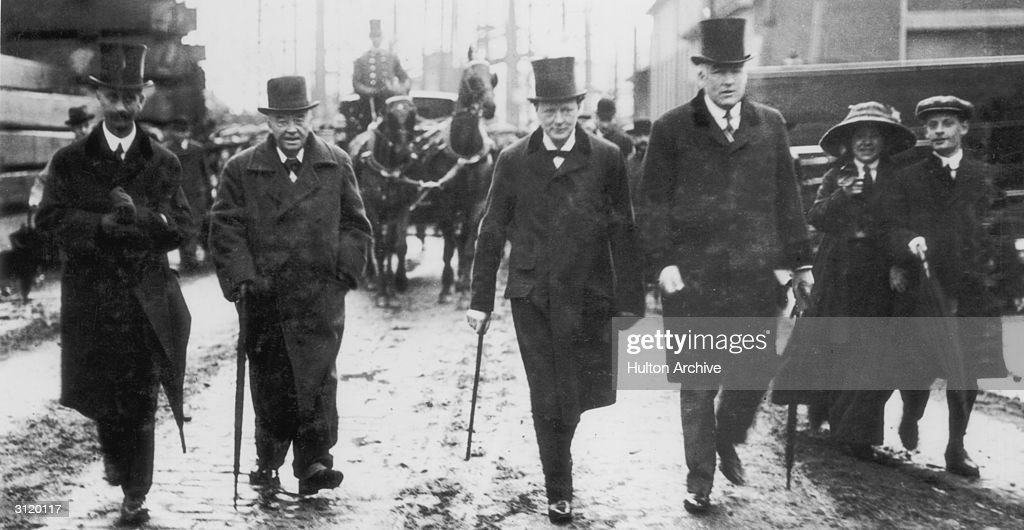 First Lord of the Admiralty Winston Churchill (1874 - 1965) arrives with Admiral lord Fisher for the launch of HMS Centurion, 1911.