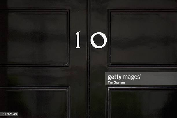 First Lord of the Treasury nameplate at Number 10 Downing Street home of British Prime Minister London UK