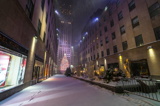 First major winter snowstorm hits Rockefeller Center at New York City during the Pandemic of COVID-19