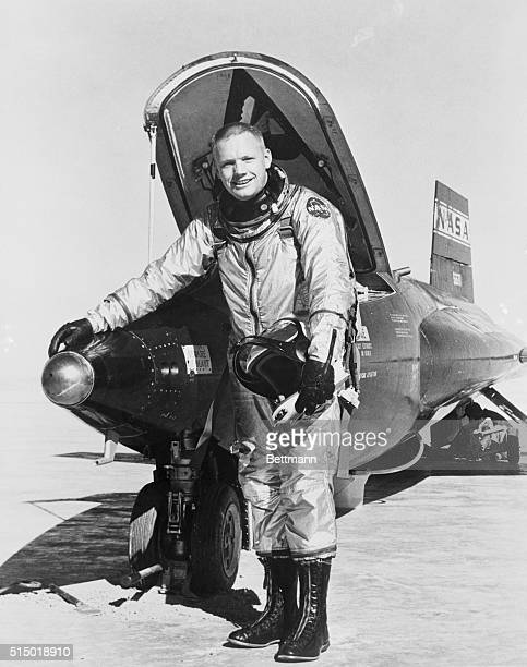 First man on the moon and X15 NASA pilot Neil Armstrong poses near aircraft