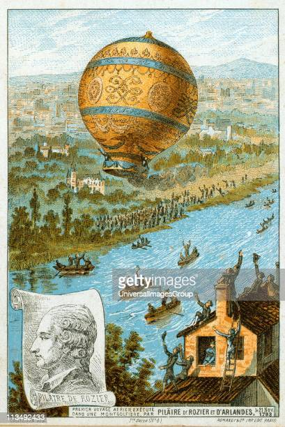 First manned free balloon flight Pilatre de Rozier and the Marquis d'Arlandes 21 November 1783 in Montgolfier balloon from the Bois de Boulogne Paris...