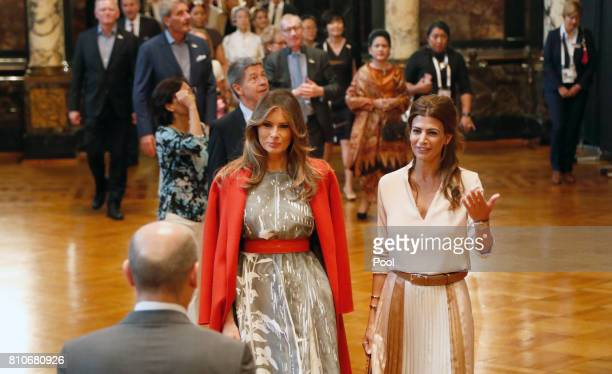 First Mayor of Hamburg Olaf Scholz receives Melania Trump wife of US President Donald J Trump Joachim Sauer husband of German Chancellor Angela...
